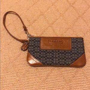 Mini leather signature Coach wristlet purse